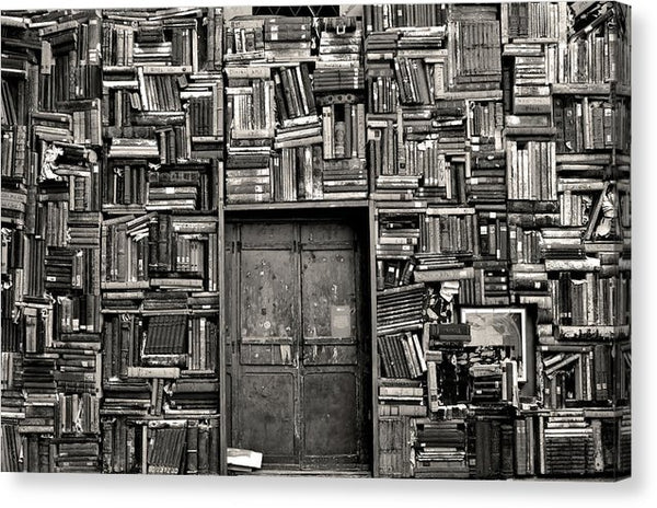 Door Surrounded by Stacked Books - Canvas Print from Wallasso - The Wall Art Superstore