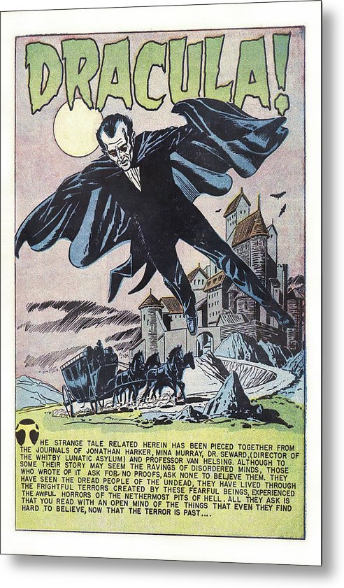 Dracula, Vintage Comic Book Alternate Color - Metal Print from Wallasso - The Wall Art Superstore