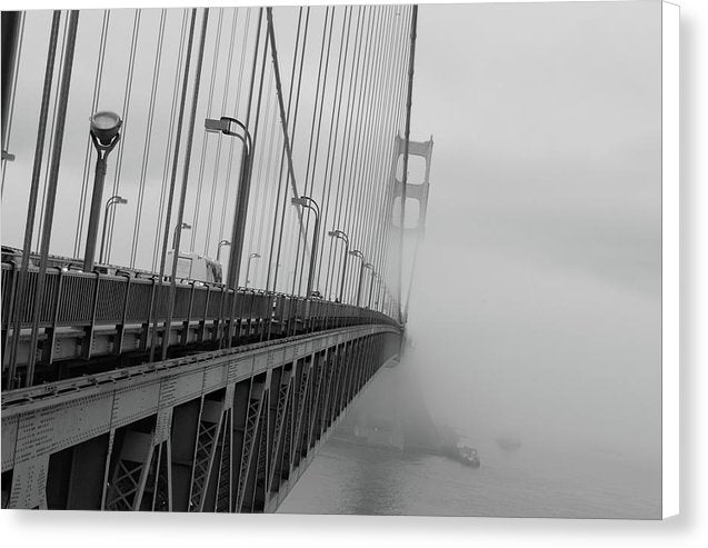 Dramatic Angle Looking Down Golden Gate Bridge In Fog - Canvas Print from Wallasso - The Wall Art Superstore