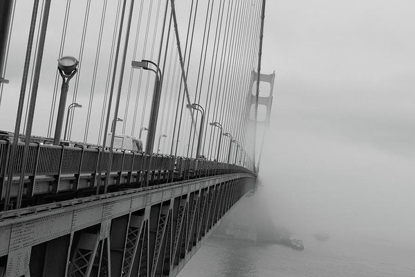 Dramatic Angle Looking Down Golden Gate Bridge In Fog - Art Print from Wallasso - The Wall Art Superstore
