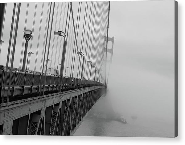 Dramatic Angle Looking Down Golden Gate Bridge In Fog - Acrylic Print from Wallasso - The Wall Art Superstore