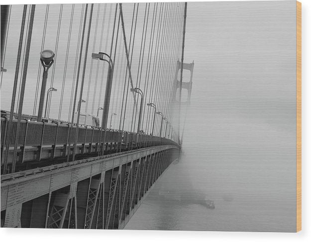 Dramatic Angle Looking Down Golden Gate Bridge In Fog - Wood Print from Wallasso - The Wall Art Superstore