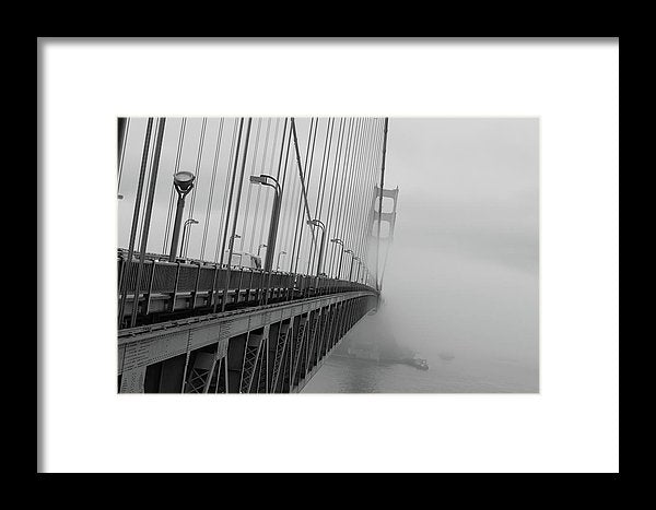 Dramatic Angle Looking Down Golden Gate Bridge In Fog - Framed Print from Wallasso - The Wall Art Superstore