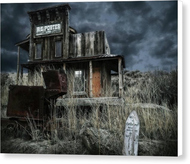 Dramatic Ghost Town Building - Canvas Print from Wallasso - The Wall Art Superstore