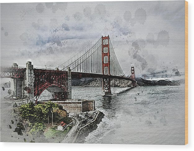 Dramatic Golden Gate Bridge Painting - Wood Print from Wallasso - The Wall Art Superstore