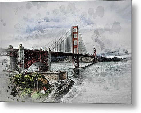 Dramatic Golden Gate Bridge Painting - Metal Print from Wallasso - The Wall Art Superstore