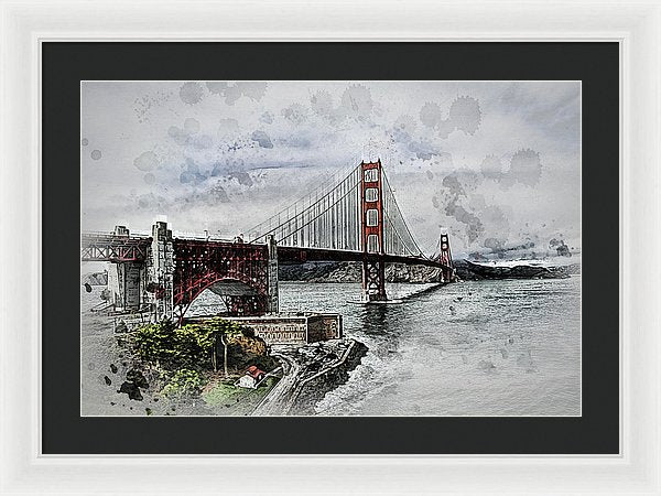 Dramatic Golden Gate Bridge Painting - Framed Print from Wallasso - The Wall Art Superstore