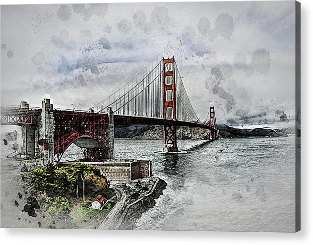 Dramatic Golden Gate Bridge Painting - Acrylic Print from Wallasso - The Wall Art Superstore
