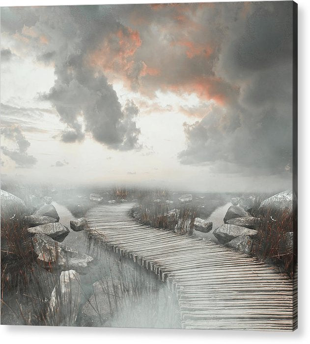 Painting of Boardwalk In Fog - Acrylic Print from Wallasso - The Wall Art Superstore