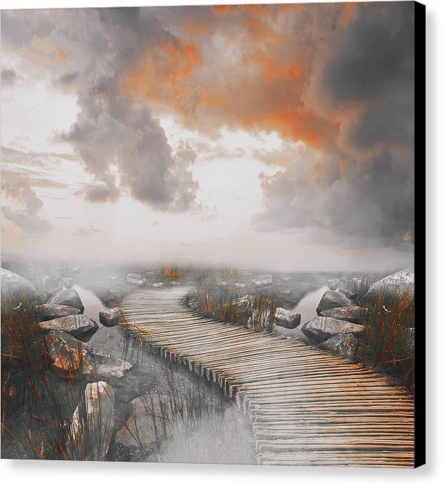 Dramatic Painting of Boardwalk In Fog With Orange Overtones - Canvas Print from Wallasso - The Wall Art Superstore