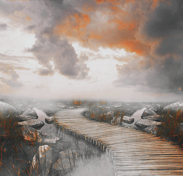 Dramatic Painting of Boardwalk In Fog With Orange Overtones - Art Print from Wallasso - The Wall Art Superstore