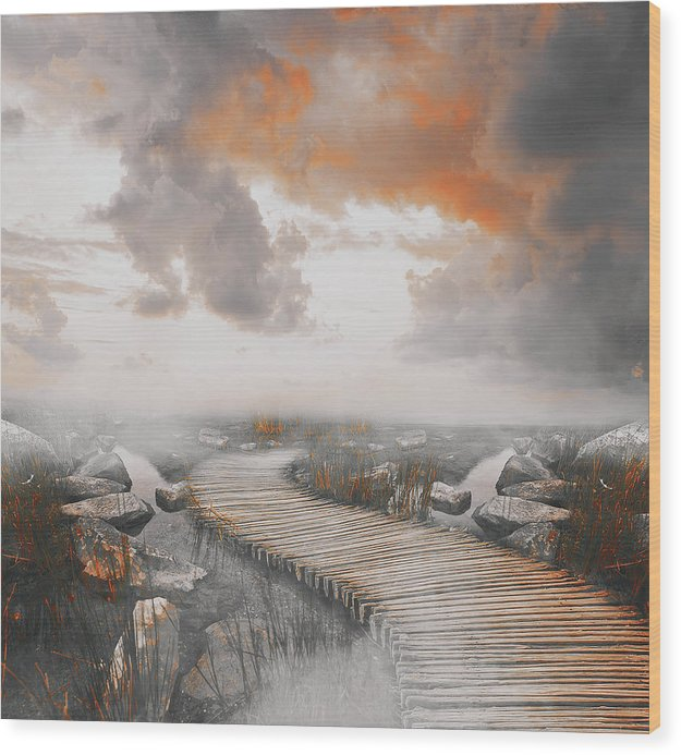 Dramatic Painting of Boardwalk In Fog With Orange Overtones - Wood Print from Wallasso - The Wall Art Superstore