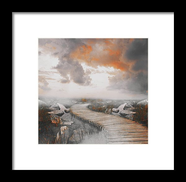 Dramatic Painting of Boardwalk In Fog With Orange Overtones - Framed Print from Wallasso - The Wall Art Superstore