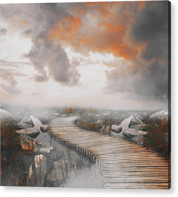 Dramatic Painting of Boardwalk In Fog With Orange Overtones - Acrylic Print from Wallasso - The Wall Art Superstore