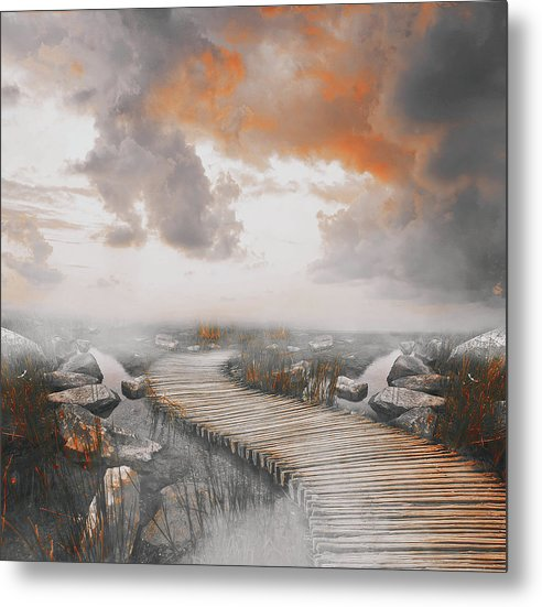 Dramatic Painting of Boardwalk In Fog With Orange Overtones - Metal Print from Wallasso - The Wall Art Superstore