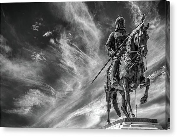 Dramatic Statue of Soldier With Spear Riding Horse - Canvas Print from Wallasso - The Wall Art Superstore