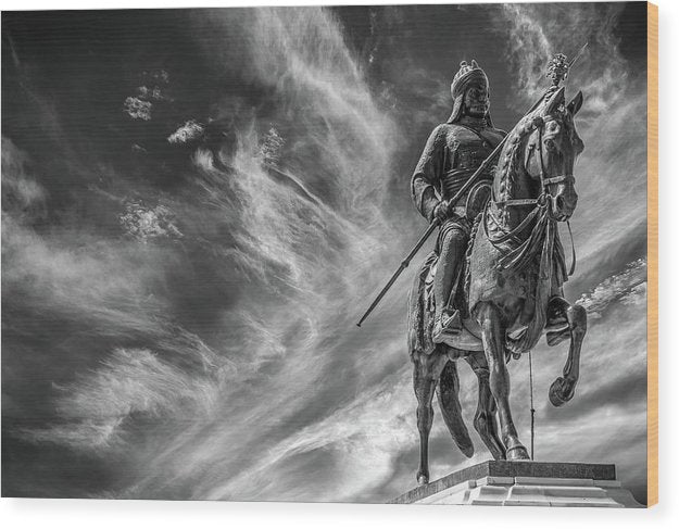 Dramatic Statue of Soldier With Spear Riding Horse - Wood Print from Wallasso - The Wall Art Superstore
