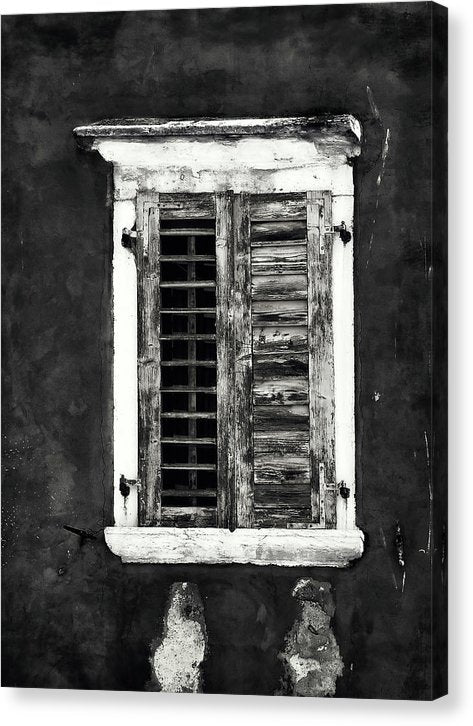 Dramatic Window With Wood Shutters - Canvas Print from Wallasso - The Wall Art Superstore