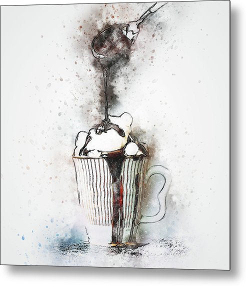 Drizzling Chocolate On Latte, Watercolor Painting - Metal Print from Wallasso - The Wall Art Superstore