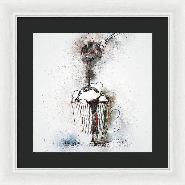 Drizzling Chocolate On Latte, Watercolor Painting - Framed Print from Wallasso - The Wall Art Superstore