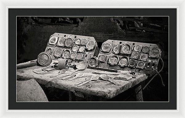 Dusty Airplane Cockpit Instrument Panel - Framed Print from Wallasso - The Wall Art Superstore