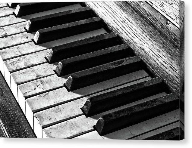 Dusty Black and White Piano Keys - Canvas Print from Wallasso - The Wall Art Superstore