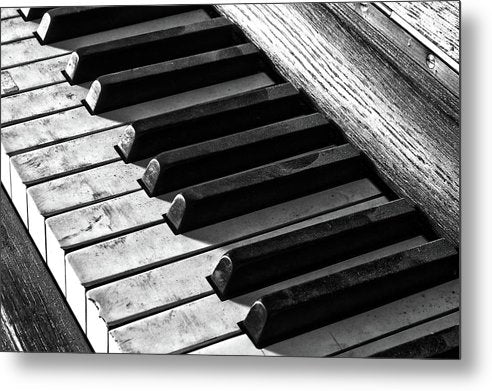 Dusty Black and White Piano Keys - Metal Print from Wallasso - The Wall Art Superstore