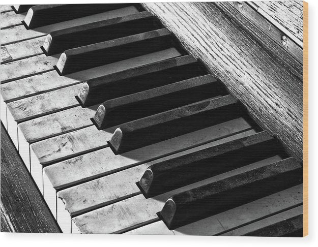 Dusty Black and White Piano Keys - Wood Print from Wallasso - The Wall Art Superstore