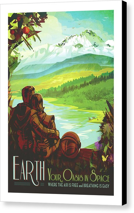 Earth Visions of The Future Vintage Travel Poster - Canvas Print from Wallasso - The Wall Art Superstore