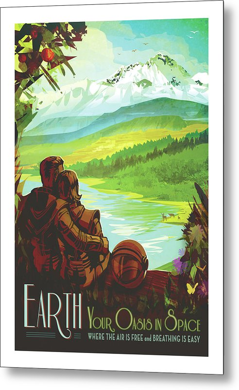 Earth Visions of The Future Vintage Travel Poster - Metal Print from Wallasso - The Wall Art Superstore