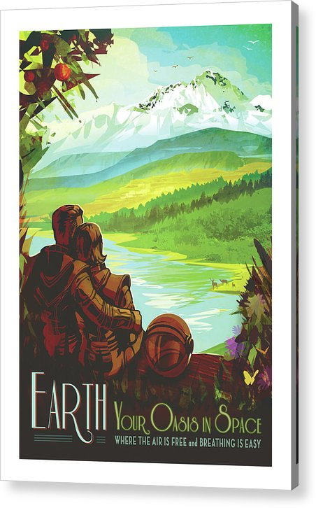 Earth Visions of The Future Vintage Travel Poster - Acrylic Print from Wallasso - The Wall Art Superstore