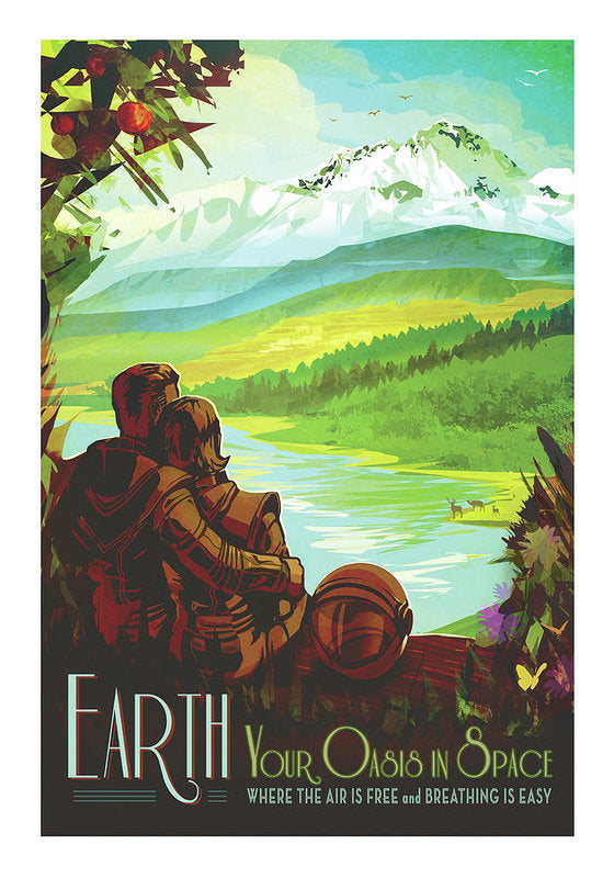 Earth Visions of The Future Vintage Travel Poster - Art Print from Wallasso - The Wall Art Superstore