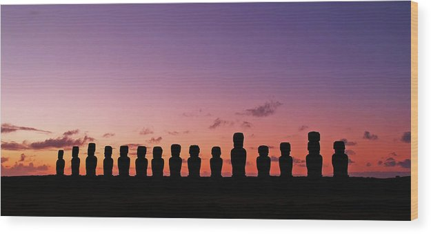 Eastern Island Statues At Sunset, Panorama - Wood Print from Wallasso - The Wall Art Superstore