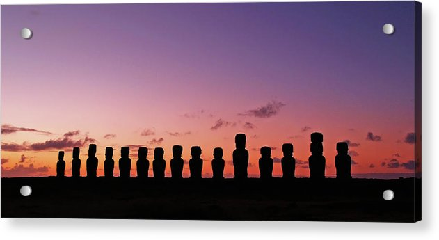 Eastern Island Statues At Sunset, Panorama - Acrylic Print from Wallasso - The Wall Art Superstore