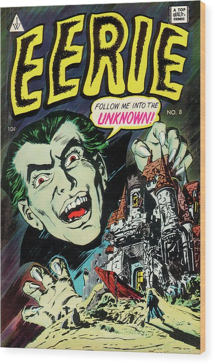 Eerie Dracula, Vintage Comic Book - Wood Print from Wallasso - The Wall Art Superstore