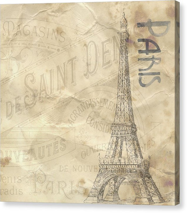 Eiffel Tower Paper Texture Decoupage Design - Canvas Print from Wallasso - The Wall Art Superstore