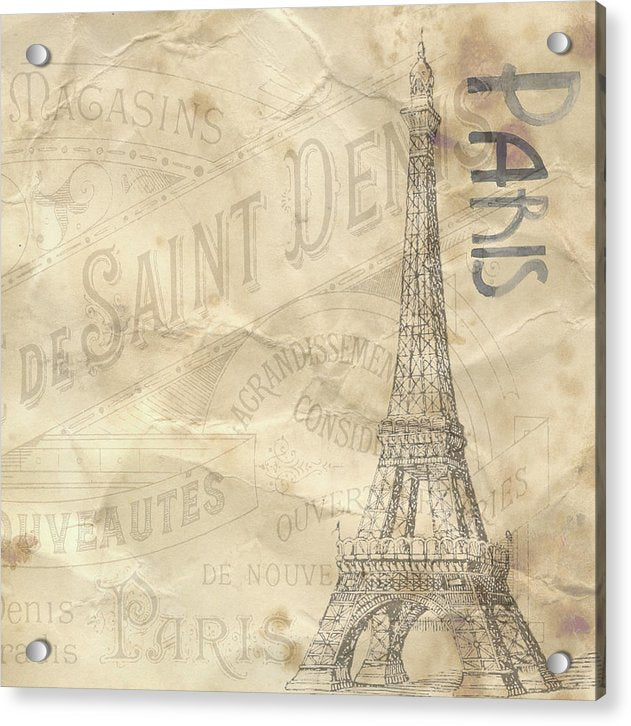 Eiffel Tower Paper Texture Decoupage Design - Acrylic Print from Wallasso - The Wall Art Superstore