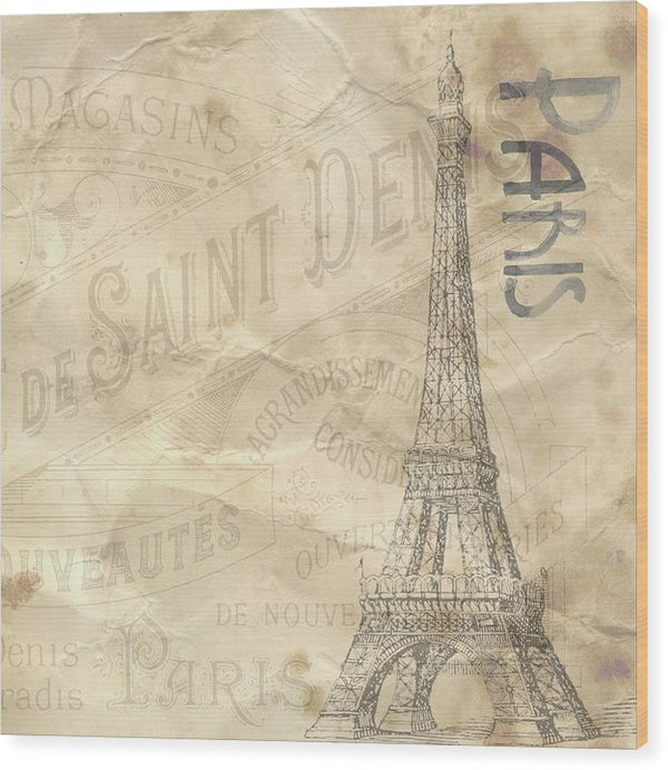 Eiffel Tower Paper Texture Decoupage Design - Wood Print from Wallasso - The Wall Art Superstore