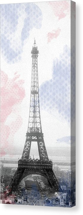 Stylized Eiffel Tower With French Flag Colors - Canvas Print from Wallasso - The Wall Art Superstore