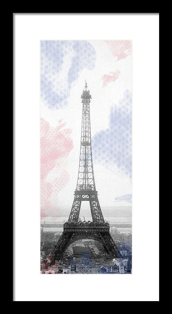 Stylized Eiffel Tower With French Flag Colors - Framed Print from Wallasso - The Wall Art Superstore