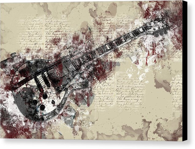 Electric Guitar Decoupage Design - Canvas Print from Wallasso - The Wall Art Superstore
