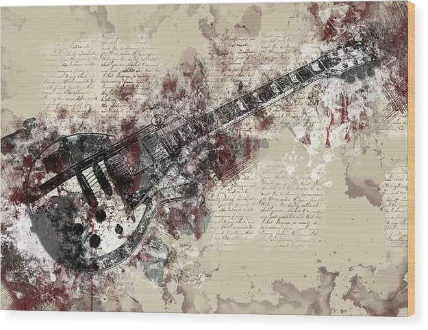 Electric Guitar Decoupage Design - Wood Print from Wallasso - The Wall Art Superstore