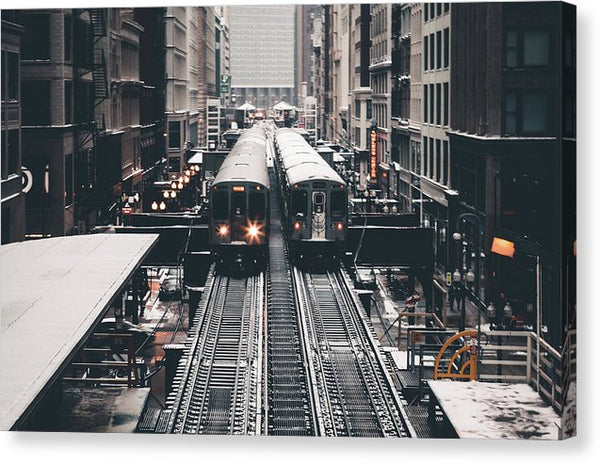 Elevated City Trains - Canvas Print from Wallasso - The Wall Art Superstore