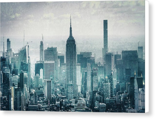 Empire State Building In New York City With Abstract Texture - Canvas Print from Wallasso - The Wall Art Superstore