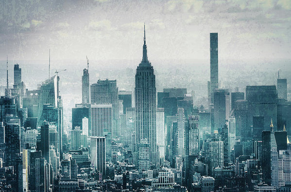 Empire State Building In New York City With Abstract Texture - Art Print from Wallasso - The Wall Art Superstore