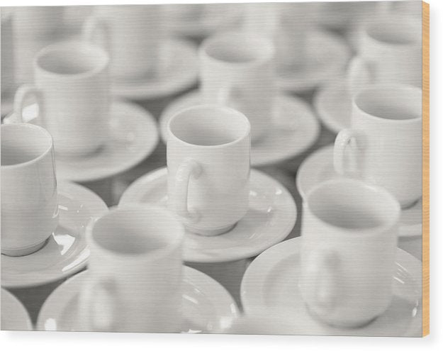 Empty Coffee Cups - Wood Print from Wallasso - The Wall Art Superstore