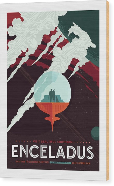 Enceladus Visions of The Future Vintage Travel Poster - Wood Print from Wallasso - The Wall Art Superstore