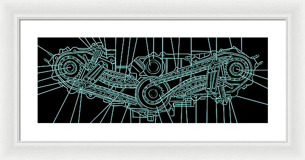 Engine Diagram Black and Teal - Framed Print from Wallasso - The Wall Art Superstore