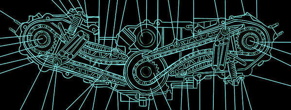 Engine Diagram Black and Teal - Art Print from Wallasso - The Wall Art Superstore