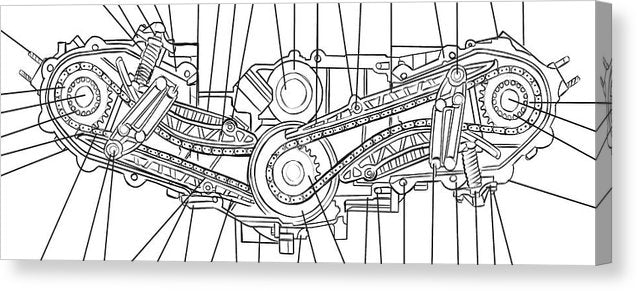 Engine Diagram Black and White - Canvas Print from Wallasso - The Wall Art Superstore